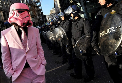 Pink Stormtrooper Protester at the G20 | Pic | Gear