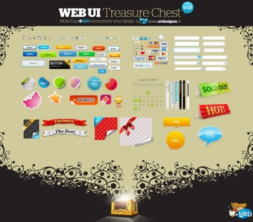Web UI Treasure Chest - Des éléments Web Design gratuits dans un PSD - La Ferme du web