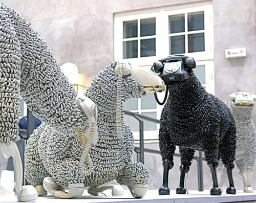 Sheep sculptures made from rotary telephones