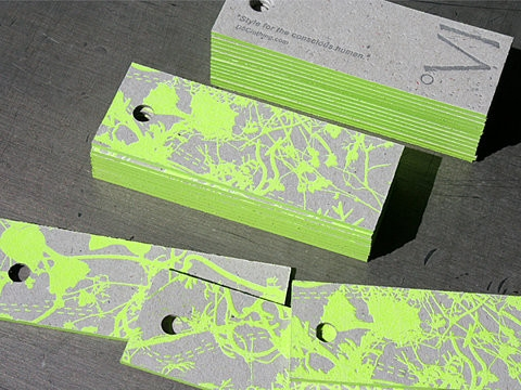 Lime green color & gray Businesscards