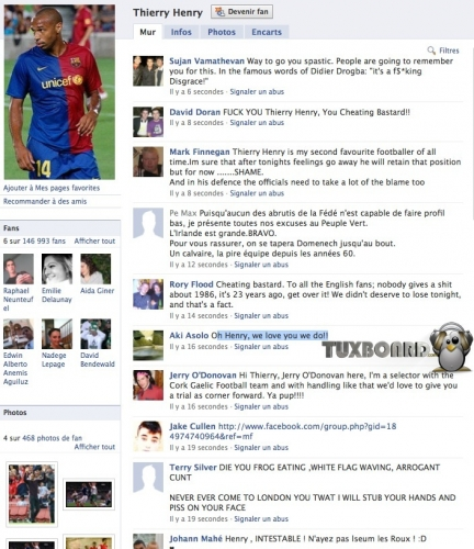 Messages de haine sur la page facebook de Thierry Henry