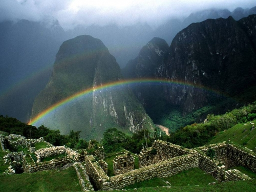 Rainbow that hangs in Machu Picchu