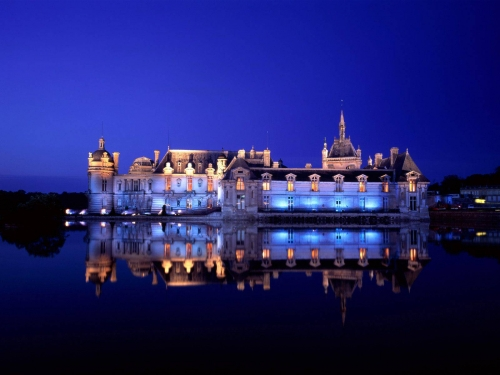 Night Castle Reflection