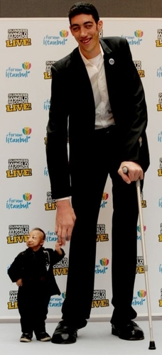 World's tallest man Sultan Kosen meets world's shortest man He Pingping