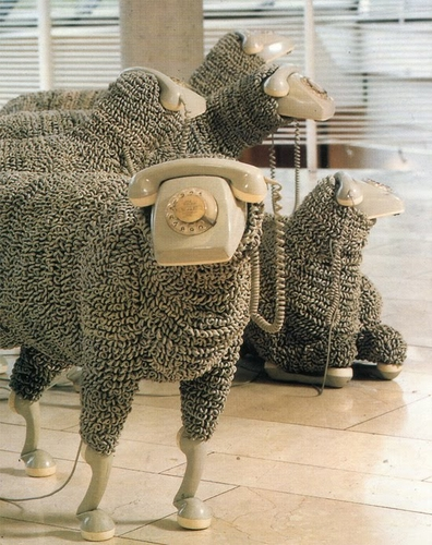 Sheep sculptures made from rotary telephones | This Blog Rules