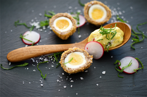 Crispy Quack Eggs with Radish Mayonnaise