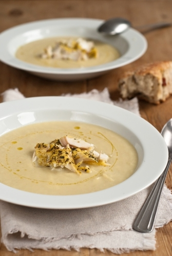 Leek and Fennel Soup with smoked Cod