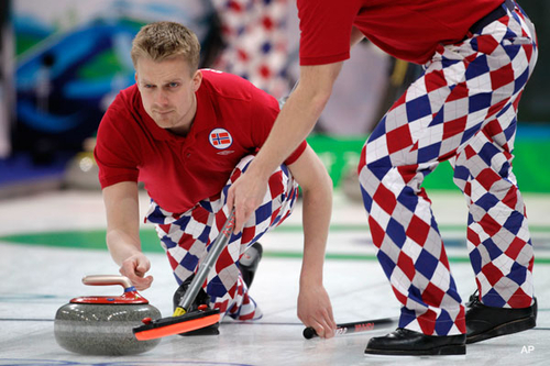 Remarkable Swag: Norway's argyle curling pants - Fourth-Place Medal