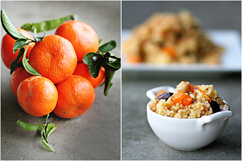 Tangerine Couscous with garbanzos and olive