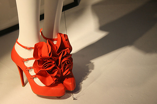 Red flower shoes by Christian Louboutin