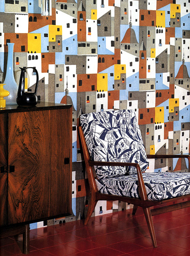 'Pueblo' wallpaper design by C. Viudes