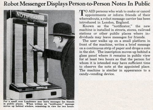 Robot Messenger Displays Person-to-Person Notes In Public (Aug, 1935)