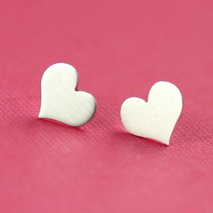 Sweetheart Studs in Silver