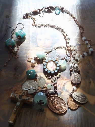 Blue on Blue Vintage French Medals Repurposed Rosary by angels9