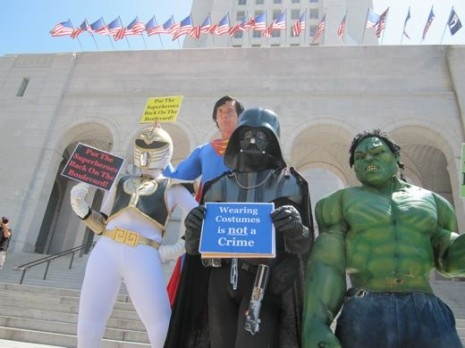 L.A. Superheroes Protest at City Hall