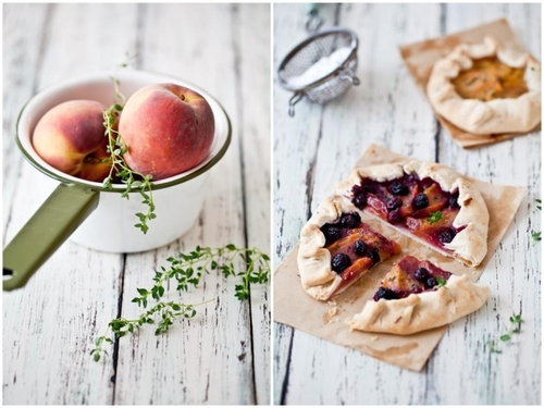 Peach and Peach Blueberry Galettes With Lemon Thyme Sugar