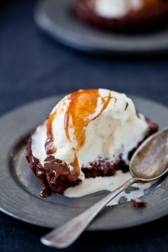 Dark Chocolate Brownies, Ginger Ice Cream & Salted Butter Caramel Sauce