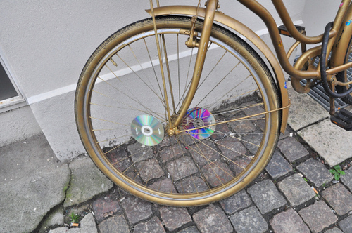 Spotted in Copenhagen: Old CDs Repurposed as Dazzling Bike Safety Device