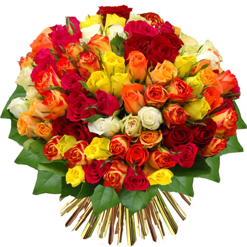 Bouquet de 80 roses multicolores florajet for Bouquet de fleurs 80 ans