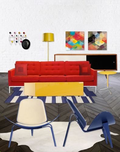 Primary Colors & Geometric Shapes Style Collage