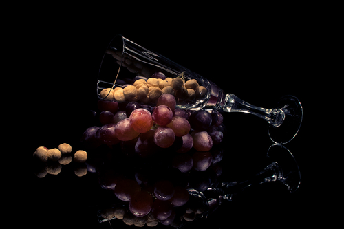 Grape and a Glass of Hazelnuts