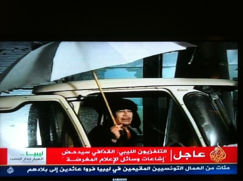 Gaddafi on Libyan State TV.