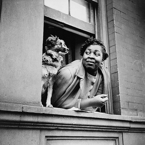 A Woman And Her Dog, Harlem, 1943.