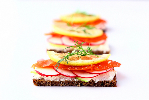 Smørrebrød: Salmon, Radish and Apple Open-faced Sandwich