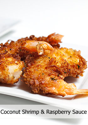 Coconut Shrimp with Spicy Grand Marnier Raspberry Sauce