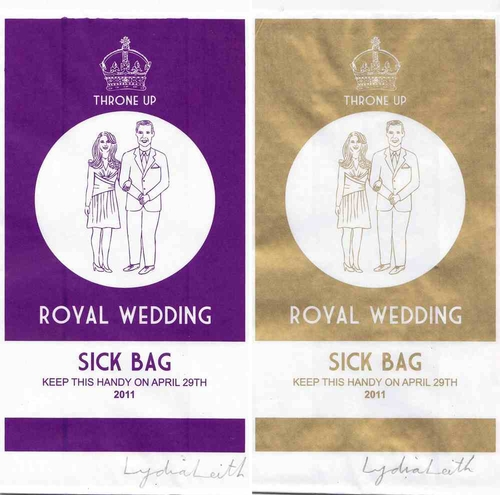 Lydia Leith — Luxury pair of Sick Bags in Gold and Purple