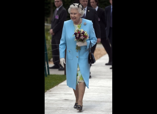 Queen Elizabeth II Wears Hairnet To Chelsea Flower Show