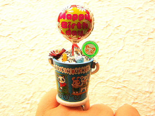 Happy Birthday Balloon Candy Bear Candle Ring by SouZouCreations