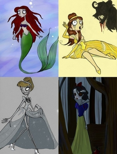 Les princesses Disney à la Tim Burton