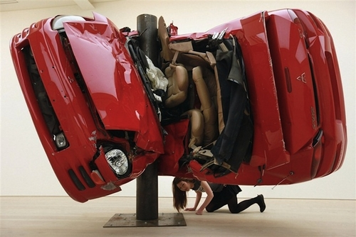 Car Crash Sculptures by Dirk Skreber