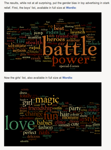 Words in toys adds, boys versus girls on Twitpic