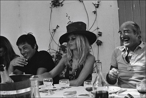 Alain Delon, Brigitte Bardot  and Eddie Barclay
