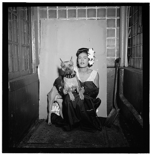 Portrait of Billie Holiday and Mister at the Downbeat in New York, N.Y., Feb. 1947.