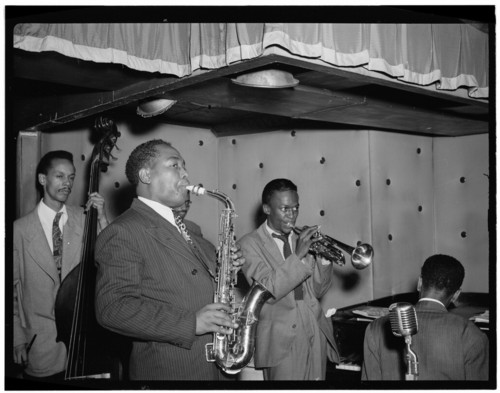 Portrait of Charlie Parker, Tommy Potter, Miles Davis, Duke Jordan, and Max Roach, N.Y. Aug. 1947