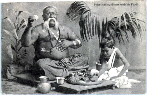 Indian Priest Taking Dinner with his Pupil---1910s-Postcard