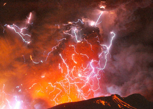 lightning and volcano