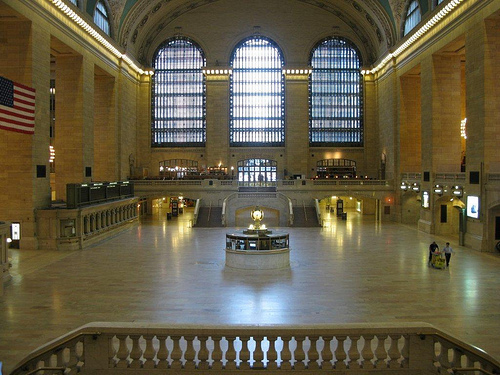 La gare Grand Central à New York vide après sa fermeture en raison de l'ouragan Irene