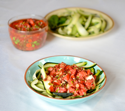 Raw Sauce with Zucchini Noodles #food #cuisine