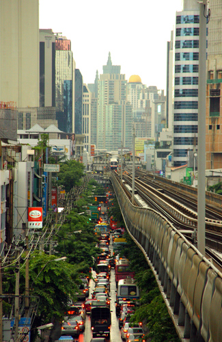 Traffic jam in Bangkok, Thailand.