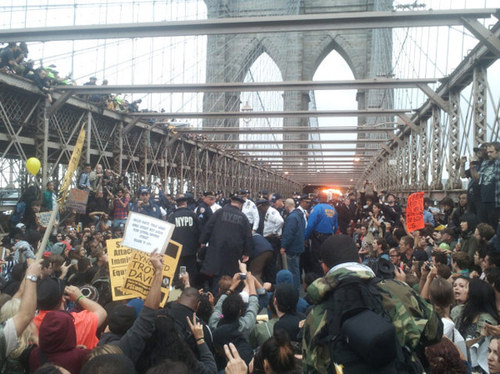 Wall Street Protesters On Brooklyn Bridge