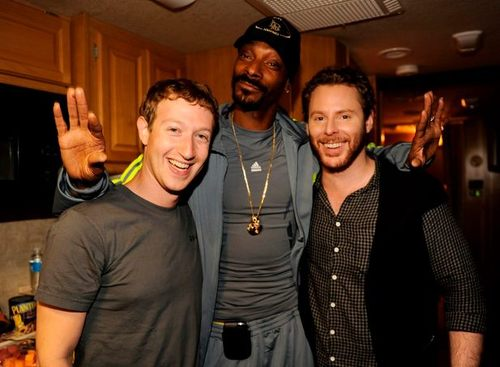 Mark Zuckerberg, Snoop Dogg and Sean Parker