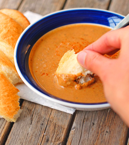 Curry Roasted Red Pepper and Eggplant Soup #recette #cuisine #food #recipe