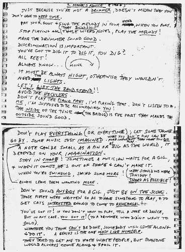 Thelonious Monk's Advice, Archived By Steve Lacy