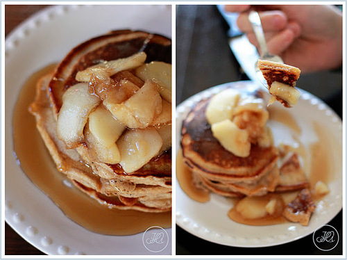 Cinnamon Wheat Pancakes with Bourbon Apple Syrup #food #recettes #recipes #cuisine