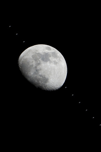 Space Station Crossing Face of Moon