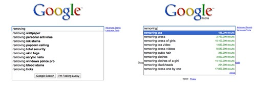 Removing - Google US vs Google India